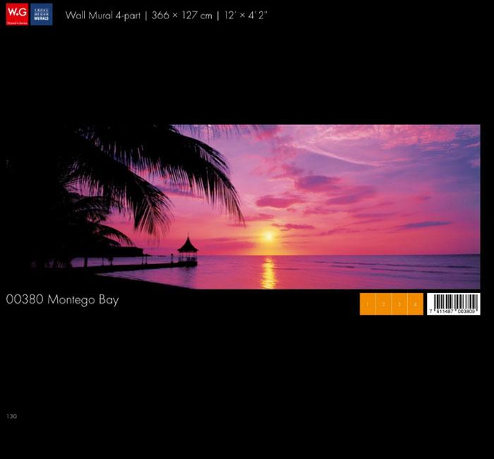 پوستر غروب آفتاب در ساحل - کاغذدیواری سه بعدی پوستر W+G دکوراسیون داخلی