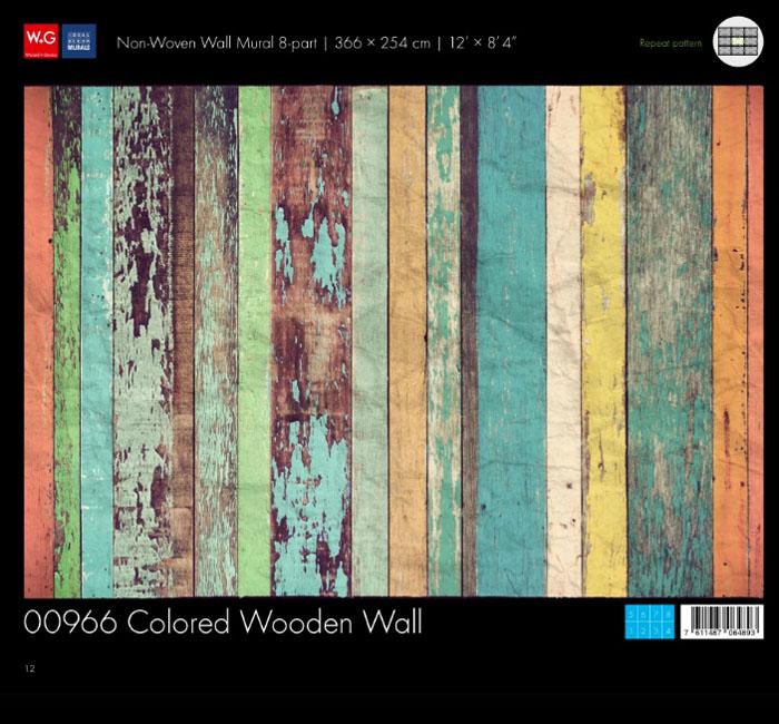 کاغذدیواری سه بعدی طرح دیوارهای چوبی رنگی پوستر W+G دکوراسیون داخلی