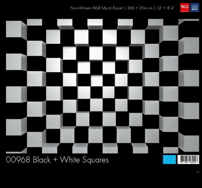 کاغذدیواری سه بعدی طرح سیاه و سفید شطرنجی پوستر W+G دکوراسیون داخلی