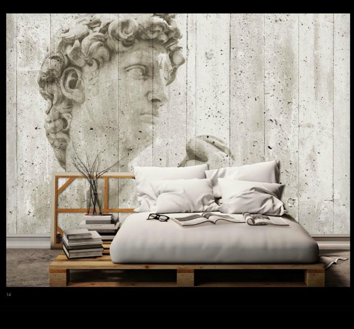 کاغذدیواری سه بعدی طرح مجسمه پوستر W+G دکوراسیون داخلی