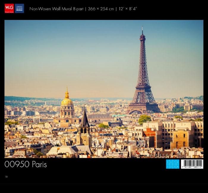 کاغذدیواری سه بعدی طرح منظر شهری -پاریس پوستر W+G دکوراسیون داخلی
