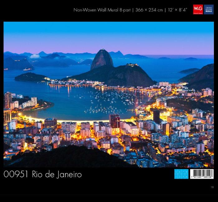 کاغذدیواری سه بعدی طرح منظر شهری -ریو پوستر W+G دکوراسیون داخلی