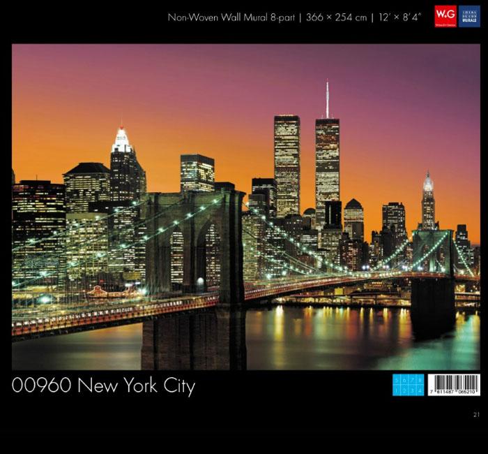 کاغذدیواری سه بعدی طرح منظر شهری-نیویورک پوستر W+G دکوراسیون داخلی