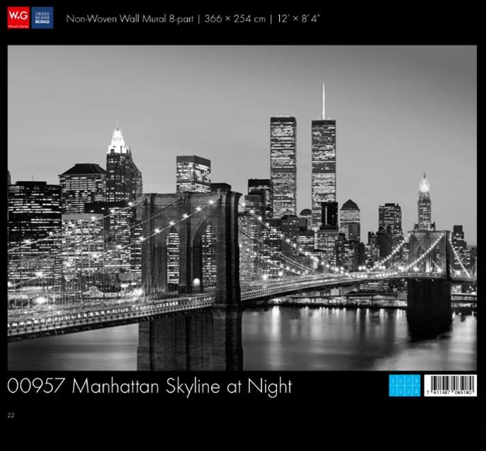 کاغذدیواری سه بعدی طرح منظر شهری -منهتن در شب پوستر W+G دکوراسیون داخلی