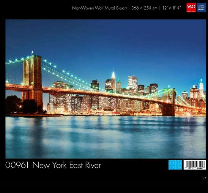 پوستر رودخانه نیویورک کاغذدیواری سه بعدی پوستر W+G دکوراسیون داخلی