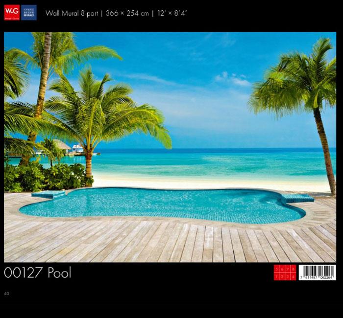 پوستر استخر ساحلی - کاغذدیواری سه بعدی پوستر W+G دکوراسیون داخلی