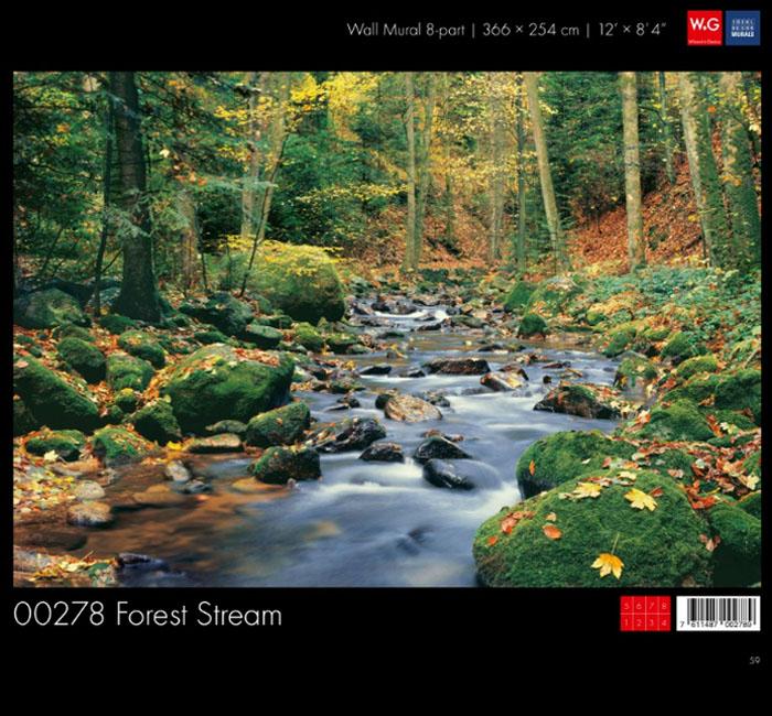 پوستر رودخانه جنگلی - کاغذدیواری سه بعدی پوستر W+G دکوراسیون داخلی