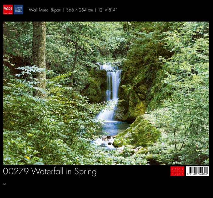 پوستر آبشار در جنگل - کاغذدیواری سه بعدی پوستر W+G دکوراسیون داخلی