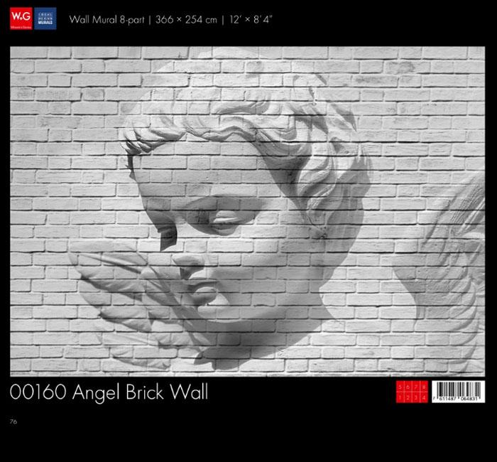 پوستر آجری با طرح فرشته - کاغذدیواری سه بعدی پوستر W+G دکوراسیون داخلی