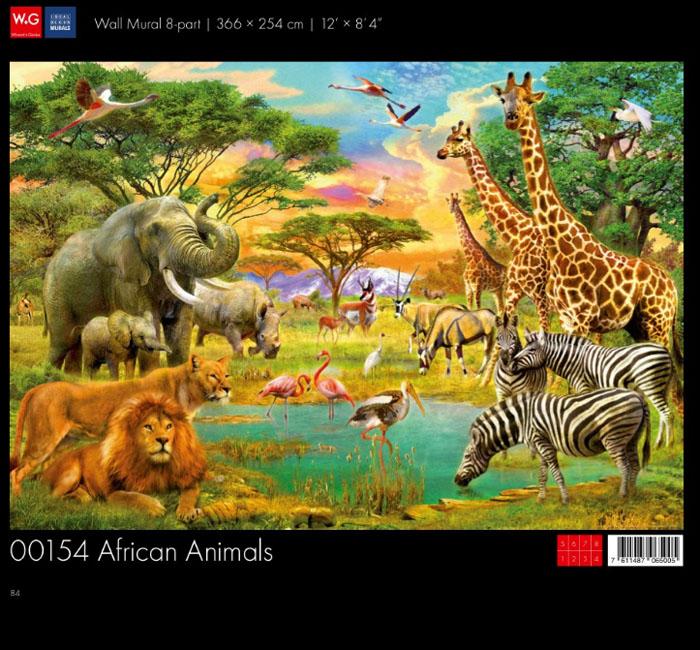پوستر حیوانات آفریقایی - کاغذدیواری سه بعدی پوستر W+G دکوراسیون داخلی