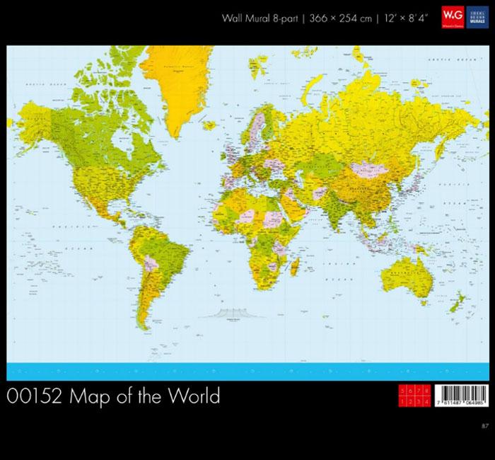 پوستر نقشه جهان - کاغذدیواری سه بعدی پوستر W+G دکوراسیون داخلی