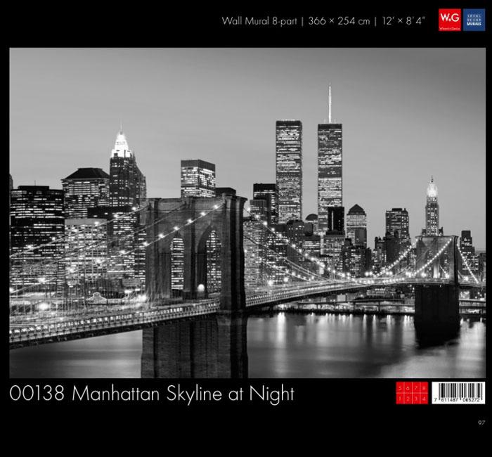 پوستر منهتن در شب - کاغذدیواری سه بعدی پوستر W+G دکوراسیون داخلی