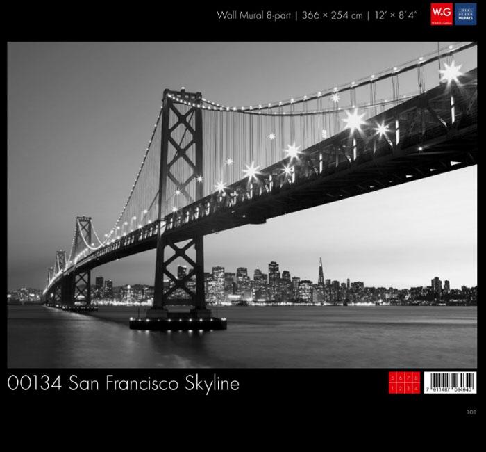 پوستر خط آسمان سان فرانسیسکو - کاغذدیواری سه بعدی پوستر W+G دکوراسیون داخلی