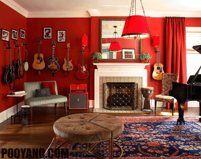 سایت پویانو-دکوراسیون با دیوار قرمز