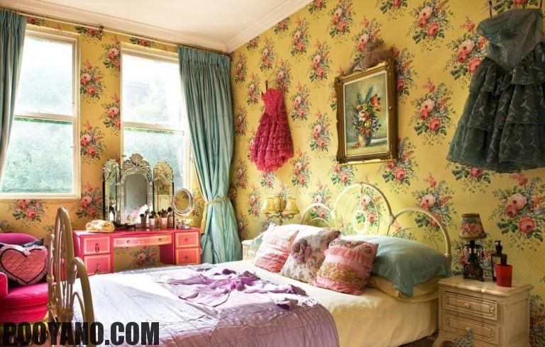 کاغذ دیواری های گلدار در طراحی اتاق خواب