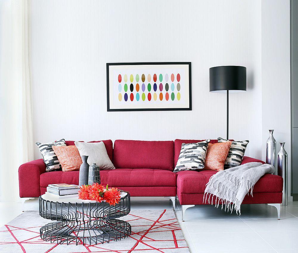 استفاده از کاناپههای رنگارنگ در چیدمان اتاق نشیمن