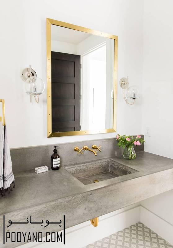 روشویی بتنی ؛ استفاده از کانترتاپ و روشویی بتنی در حمام و سرویس ؛ اجرای روشویی بتنی
