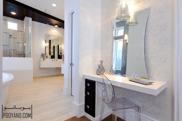 مدل میز آرایش یا میز توالت با آینه در حمام و سرویس ؛ انواع میز آرایش ؛ عکس های میز توالت