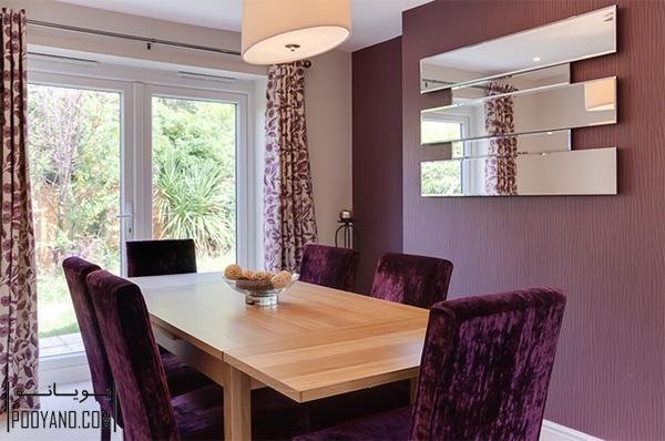 صندلی مخملی برای میز ناهارخوری در دکوراسیون اتاق های غذا خوری پرظرافت ؛ طراحی مبلمان مخملی