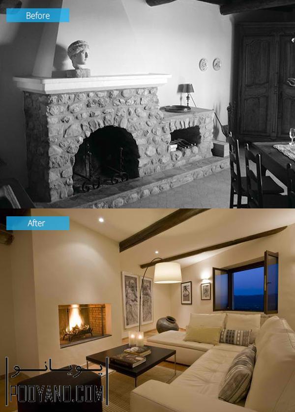 بازسازی سالن پذیرایی ؛ 15 تصویر از قبل و بعد بازسازی اتاق پذیرایی ؛ بازسازی و طراحی داخلی پذیرایی