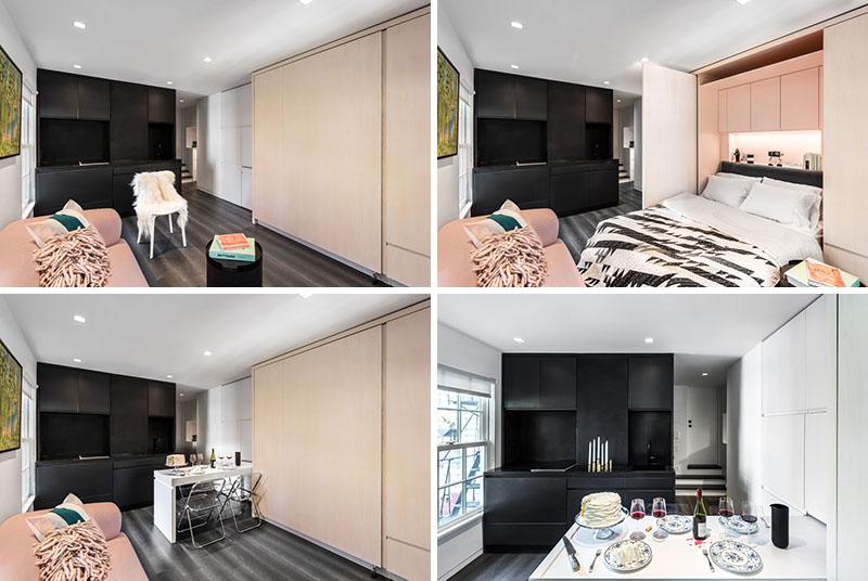استفاده مفید از فضا در طراحی آپارتمان فوق العاده کوچک با دیوارهای چند منظوره