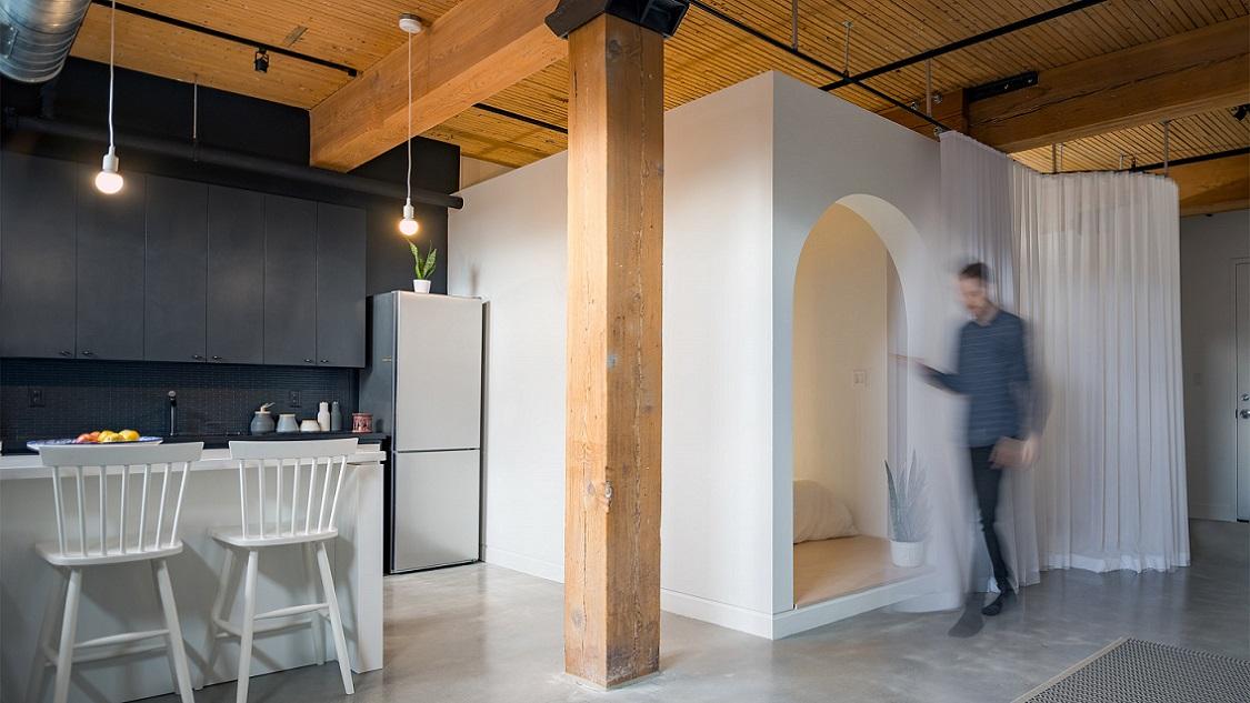 طراحی اتاقک در آپارتمان برای ایجاد فضای خواب در بازسازی خانه