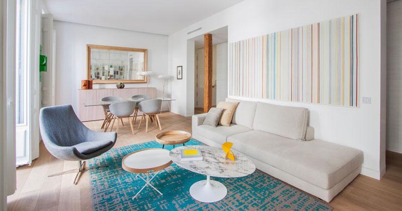 معماری و طراحی داخلی آپارتمان مدرن و روشن در مادرید اسپانیا