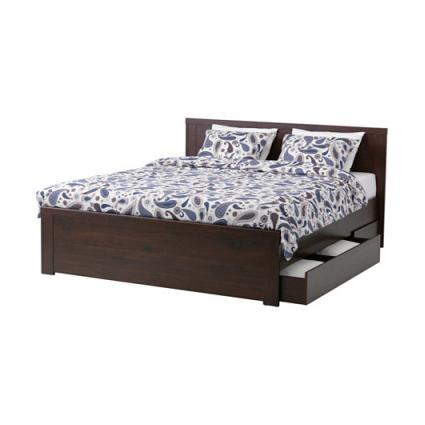 فریم تخت خواب دونفره چهار کشو قهوه ای ایکیا مدل BRUSALI