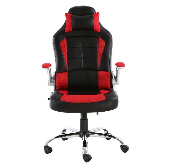 صندلی گیمینگ ارگونومیک چرمی ، بالشت گردنی ، قرمز و مشکی