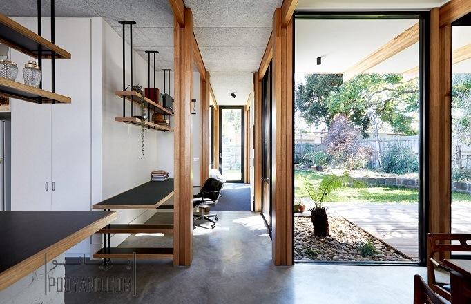 اسکلت چوبی نمایان در طراحی داخلی خانه بازسازی شده ویلایی در ملبورن/ Foomann Architects