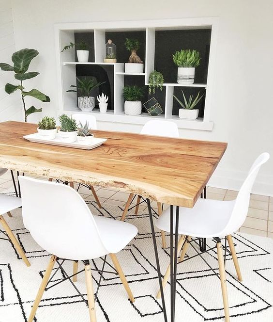 ترکیب زیبای رنگ سفید با چوب طبیعی