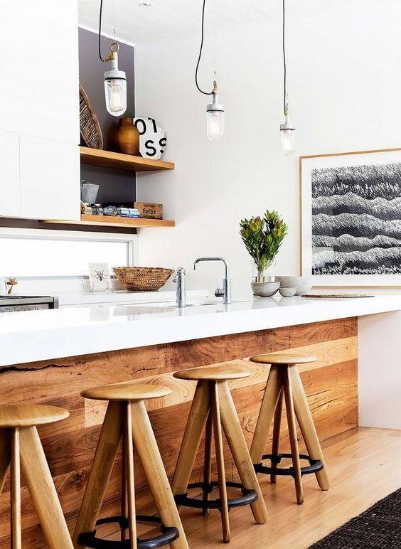 ترکیب ظاهر مدرن سفید با ظاهر طبیعی چوب