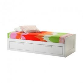 کاناپه تخت خوابشو سفید دو کشو ایکیا مدل BRIMNES