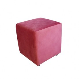 مبل پاف سهیل مدل مکعبی مخملی صورتی