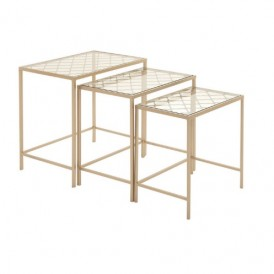 ست میز عسلی سه تایی طلایی شیشه ای فلزی