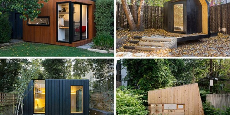 ۱۴ طراحی و اجرای الهامبخش دفتر کار ، کانکس و اتاقک مهمان در حیاط خلوت و محوطه خانه