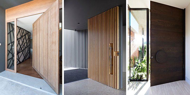 درب ورودی چوبی با دیزاینی مدرن ، که فضای دعوت کننده گرمی را خلق کرده اند