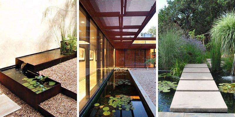 ۸ ایده محوطه سازی برای حوض آب و آبنما حیاط خانه و باغ های آبی