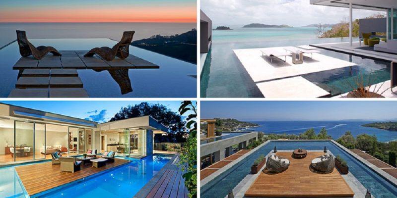۶ دیزاین استخر شنا خانگی که درون خود سکوهایی جزیره ای دارند
