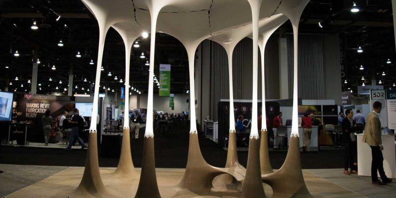 پاویون طرح تولیدی شرکت معماری اتودسک با فرآیند نحوه ساخت و ویژگیهایش با سنگ و پارچه