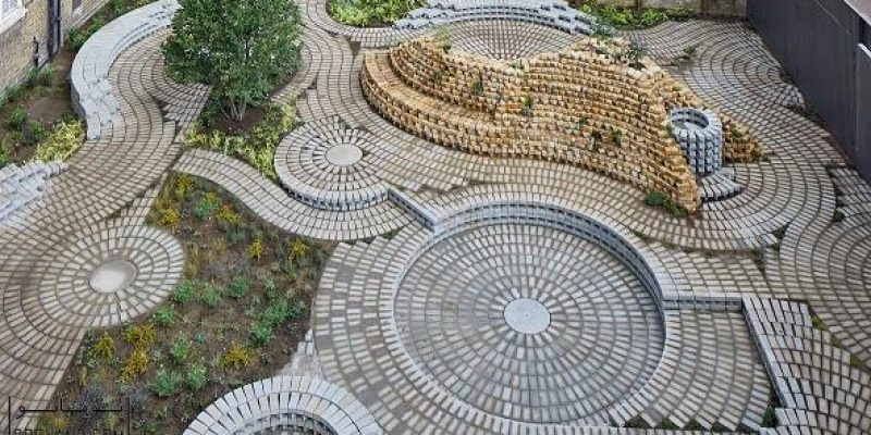 ترکیب دایره های آجری چرخان در طراحی باغچه گالری جنوب لندن