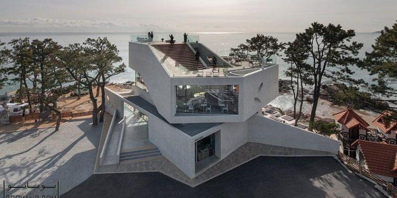 منظره تماشایی دریا از کافه ساخته شده با بلوک های بتنی در کره جنوبی