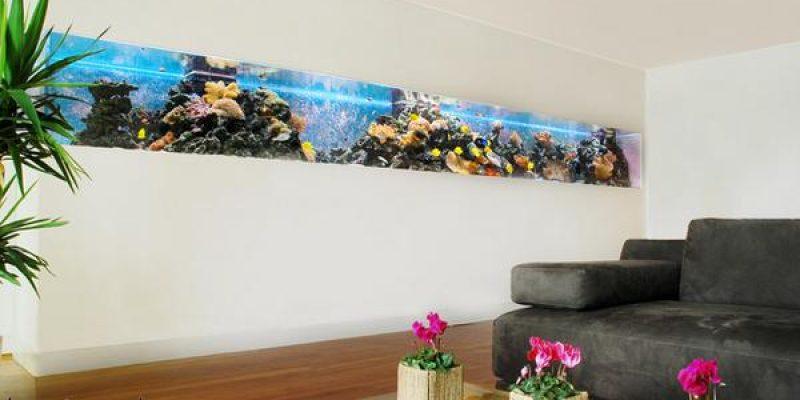 طراحی آکواریوم خانگی ؛ ۳۲ دکوارسیون سالن پذیرایی مدرن با آکواریوم ماهی یا مخازن ماهی
