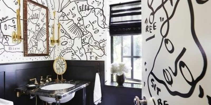 دکوراسیون حمام رنگ سفید و مشکی