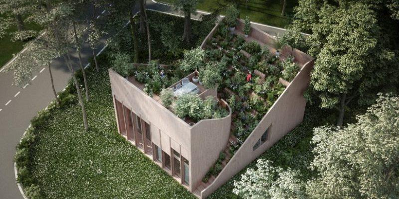 طراحی باغچه روی بام در خانه Yin & Yang / شرکت معماری Penda