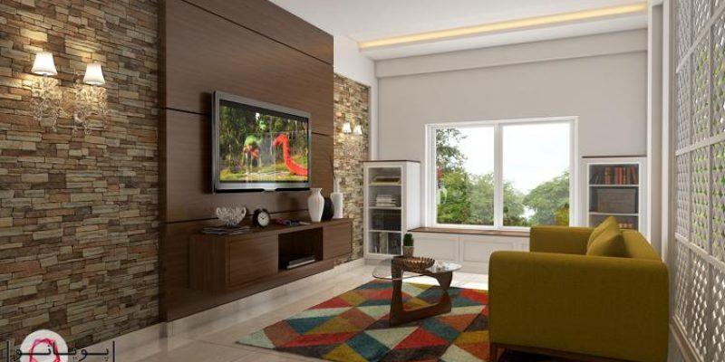 ۶ طراحی خیرهکننده برای دیوار تلویزیون در اتاق پذیرایی