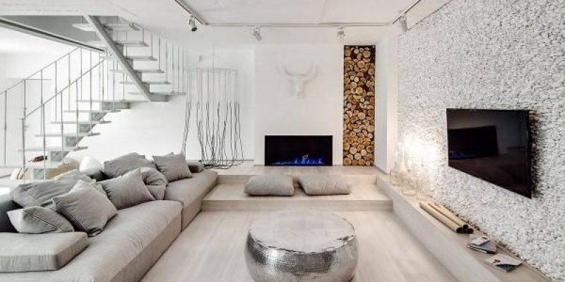 خانه سفید روشن با جزئیاتى طبیعى