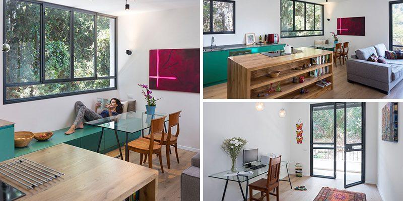 کابینت آشپزخانه با  رنگ سبز تیره در طراحی داخلی آپارتمان