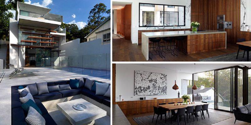 طراحی نمای خانه با پنهان کردن سطوح مختلف پشت نمای مینیمال خود
