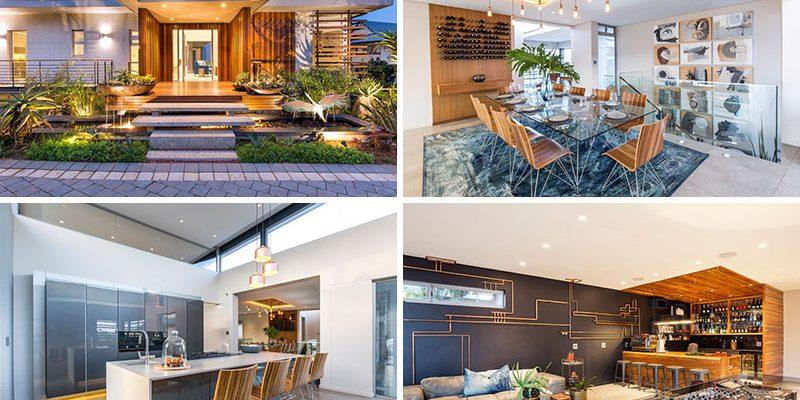 طراحی داخلی خانه در آفریقای جنوبی که دورتادور یک استخر شنای سرپوشیده طراحی شده است